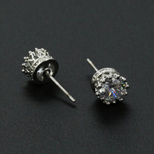 Wholesale crown molding simulated diamonds silver plated stud earrings for woman fashion jewelry gift free shipping