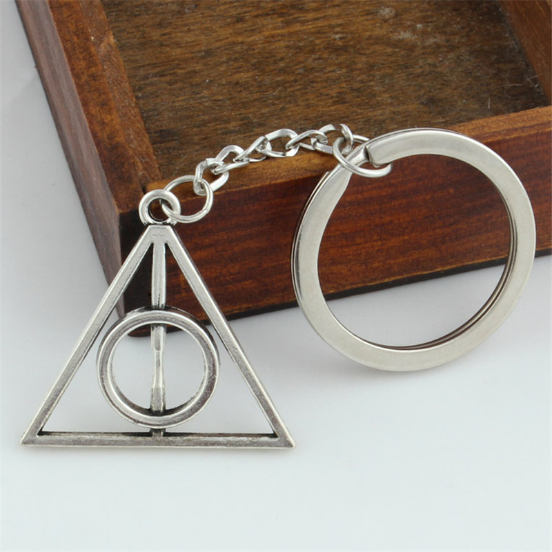 Dropshipping Punk Keychain Silver Luna And Death Hallows Harry Potter Keychain Retro Triangle Pendant Car Keychain Unisex Gift
