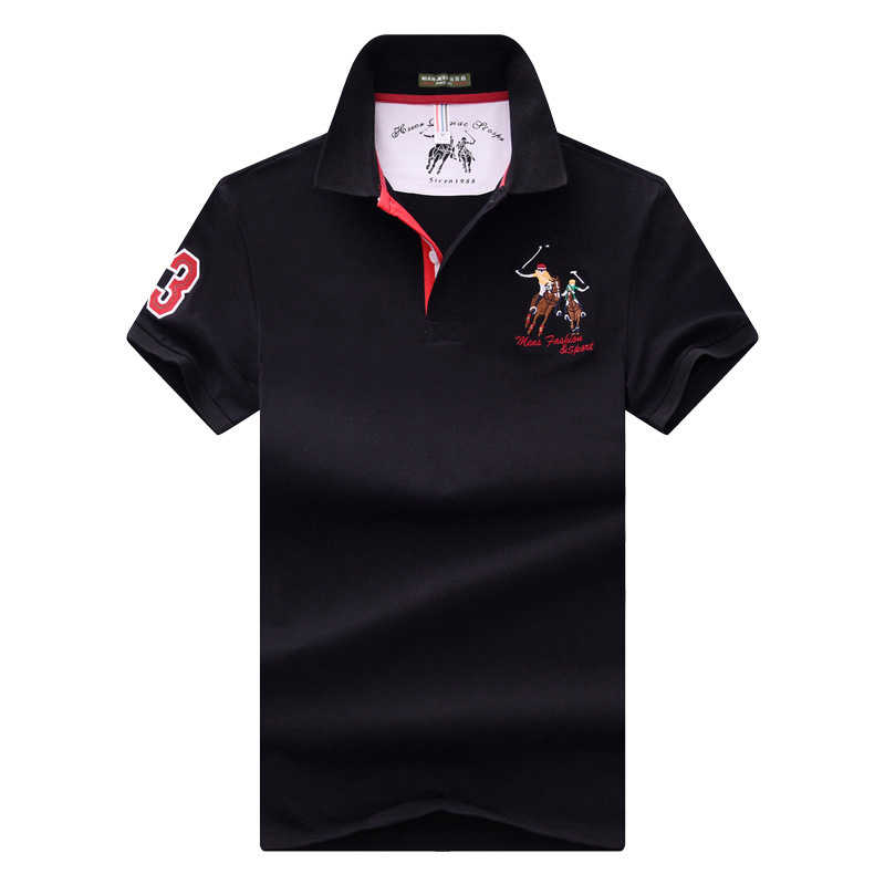 Bisnis Plus Ukuran Kaos POLO Pria Lengan Pendek Polo Shirt Pria Murni Warna Bordir Kerah Lembut Kaos Polo Kualitas Tinggi atasan