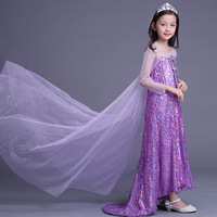 ABGMEDR Brand 2018 New Tangled Dress Girls Children Sequined Clothing Girl Elsa Dress Kids Rapunzel Clothes