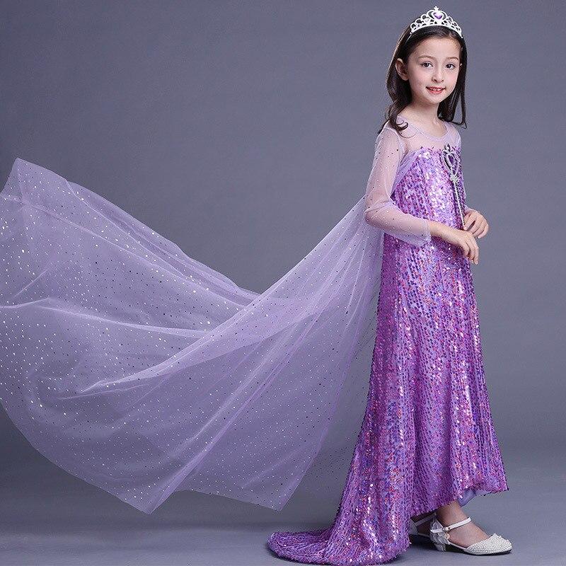 ABGMEDR marque 2018 nouvelle robe emmêlée filles enfants paillettes vêtements fille Elsa robe enfants raiponce vêtements filles robes de fête