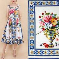 Silk Satin Fabric Blue Majolica Printed Fabric DIY Women Clothing Dress Polyester Fabric Summer Flowers Colorful