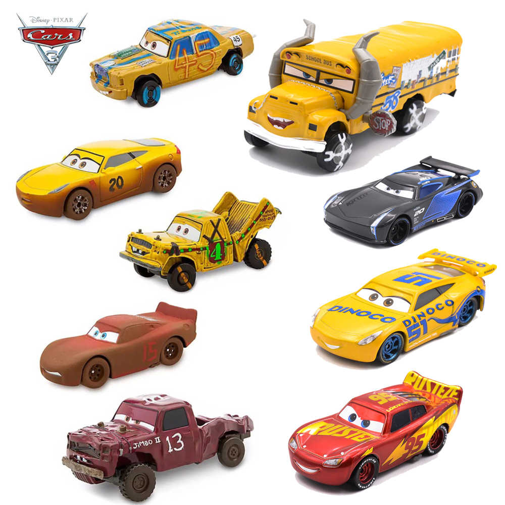 Disney Pixar Cars 3 Metal Crazy Crashed Party Lightning McQueen Car Toys  Dinoco Cruz Ramirez Mater Toy Car Gift For Children