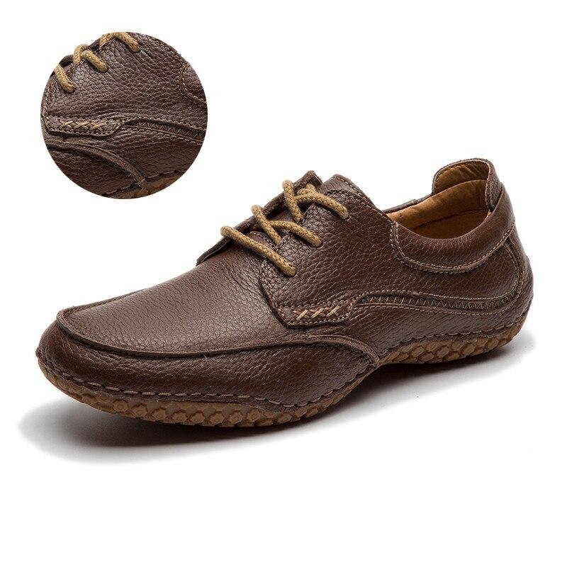 LINGGE/мужская кожаная обувь г. Мужская обувь из натуральной кожи, Размер 40-45 коричневые Свадебные модельные туфли оксфорды на шнуровке,#530-2 - Цвет: brown lace up