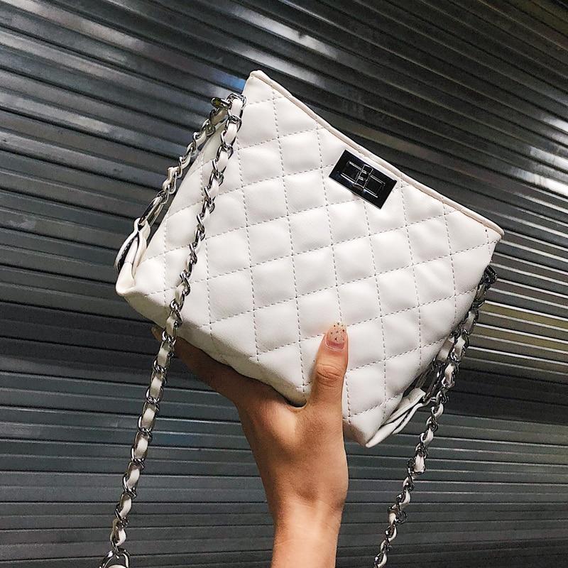 Newly Arrived 2018 Fashion Plaid Handbags High quality PU Leather Women bag Simple Wild Chain Tote Shoulder bags Crossbody bag