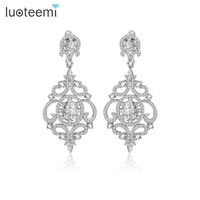 Teemi Newest Style Statement Luxurious Big Dangle Micro Paved CZ Crystal Flower Drop Earrings For Women