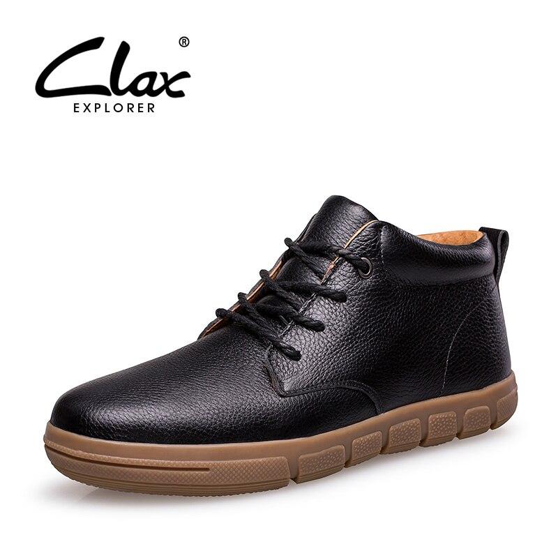 CLAX Men's Leather Shoes with Fur Winter Men Shoe Genuine Leather Casual Footwear Warm Snow Shoe Plush chaussure homme plus size цена