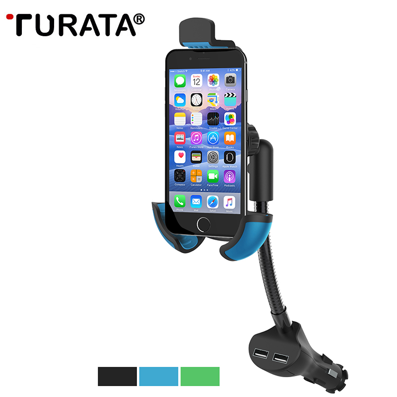 Universal Car Mobile Phone Holder Stand Car-charger 2.1A 2 P