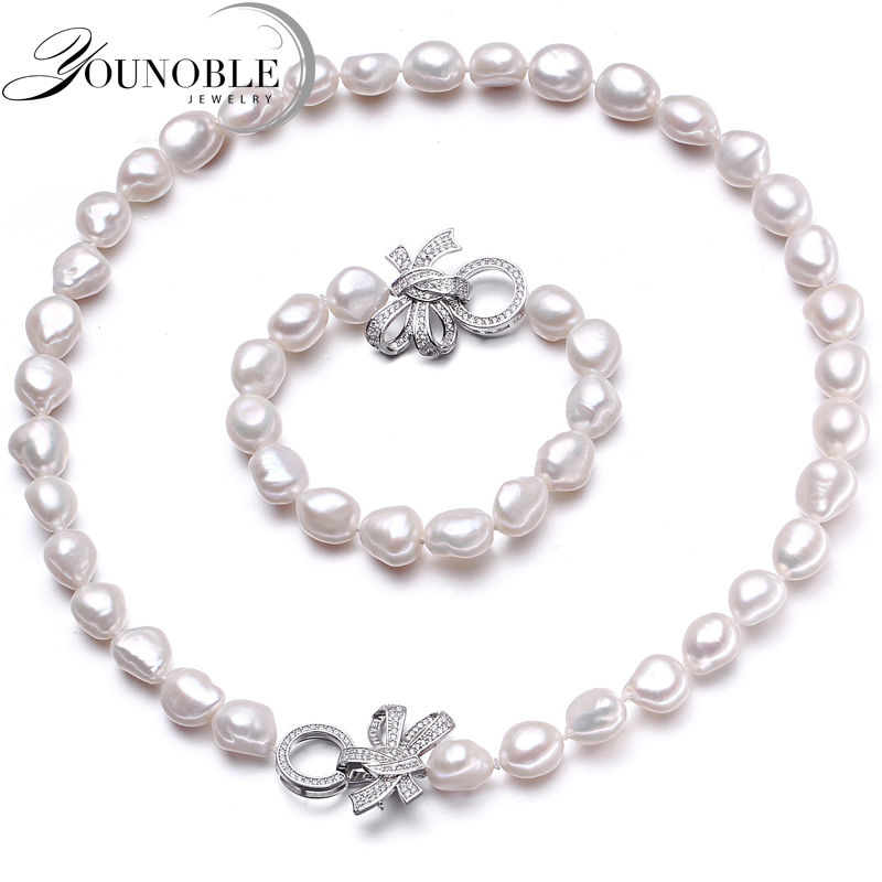 YouNoble Baroque 925 Silver 100% White Natural Freshwater pearl Jewelry Sets Real pearl Necklace Bracelet Jewelry Sets for women 100% natural freshwater pearl jewelry set white color real freshwater pearl necklace bracelet earrings handmade lady s jewelry