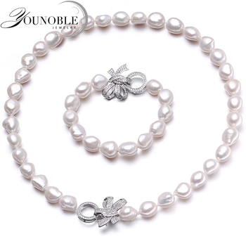 YouNoble Baroque 925 Silver 100% White Natural Freshwater pearl Jewelry Sets Real pearl Necklace Bracelet Jewelry Sets for women [meibapj] 925 sterling silver 4 items pearl leopard sets 100