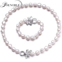 YouNoble barroco 925 Plata 100% blanco Natural perla de agua dulce conjuntos de joyas collar de perlas reales pulsera juegos de joyas para mujer