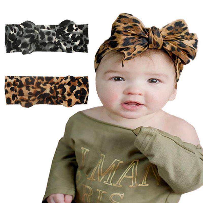 New Hot Printing Stretch Cloth Leopard Bow-knot Children Headband Baby Hair Band Headwear