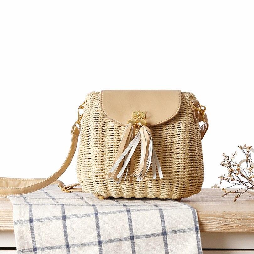 Открытые летние Для женщин кисточкой Соломенная пляжная сумка известный дизайнер чешские Дамы тканые Вязание ручной работы сумки через пл...