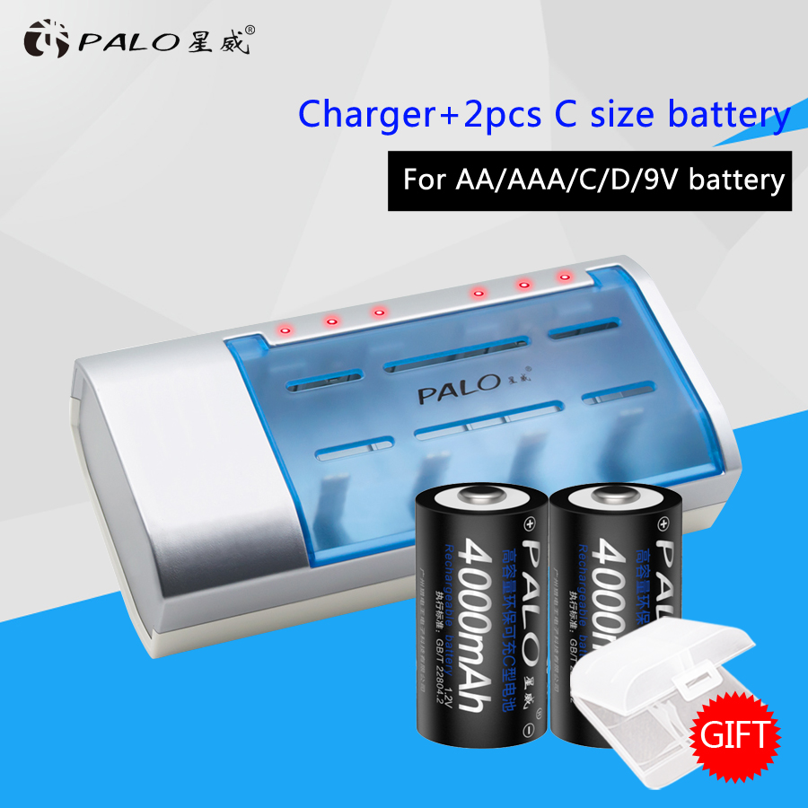 Hot New Type Multi-usage Definite Time Battery Charger For Nimh Nicd AA/AAA/C/D/9V Rechargeable Batteries+2pcs C Size Batteries