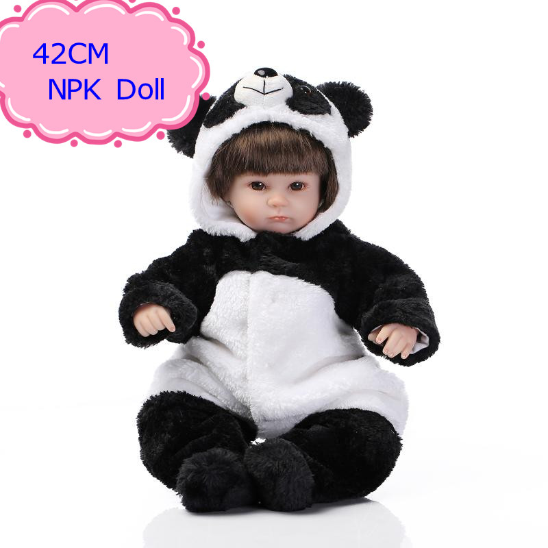 NPK Cute 42cm 17'' Silicone Reborn Baby Dolls With Panda Style Doll Clothes Educational Bebes Reborn Menina As New Year Gift cute 17 silicone baby dolls for sale with lovely high quality bear clothes bonecas baby alive most hot sell brinquedo menina