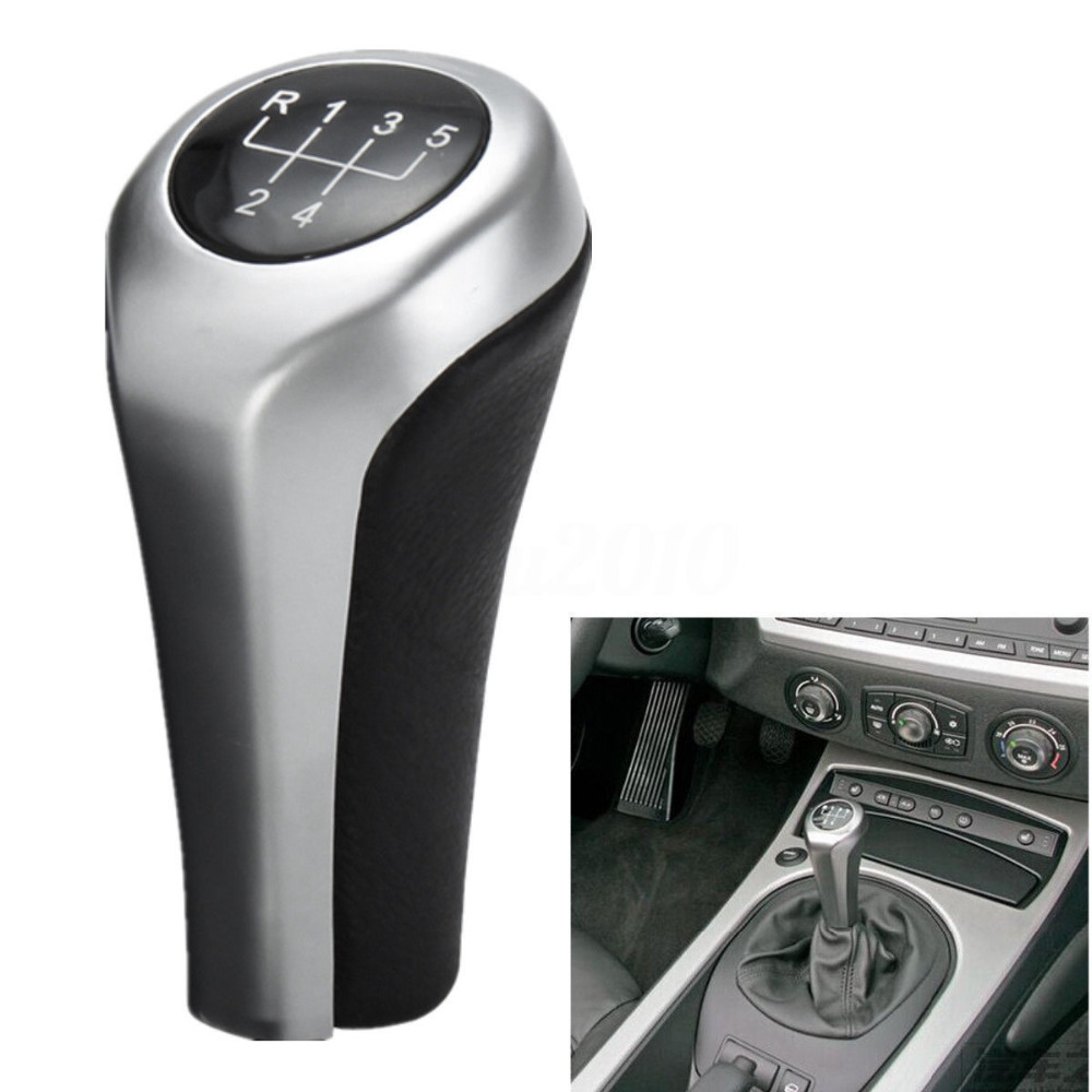 BBQ@FUKA 1pc ABS <font><b>Chrome</b></font> 5 Speed Manual Gear Shift Knob Sticker Cover Lever Fit For <font><b>BMW</b></font> <font><b>E30</b></font> E32 E36 E46 E39 1 3 5 7 series image