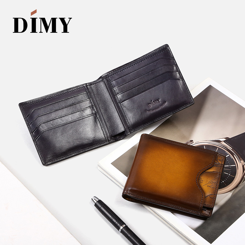 Dimy Blocking Men Wallets Vintage Cow Genuine Leather Men's Purses Male Carteira Masculina Dollar Price Coin Purse Short Wallet fashion design men genuine leather cowhide wallet dollar price wolf short coin purse fold portfolio carteira masculina handy bag
