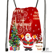 Custom Merry Christmas @09 Drawstring Backpack Bag Cute Daypack Kids Satchel (Black Back) 31x40cm#180531-03-25