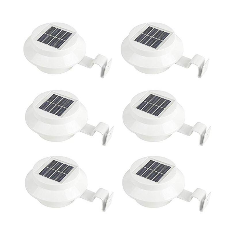 4/ 6 pacote calha luzes solares ao ar livre led à prova dwaterproof água luzes da pia solar movido a energia solar para cerca telhado sarjeta jardim quintal telhado lâmpada de parede