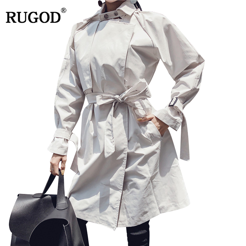 RUGOD 2019 Autumn Winter Fashion Female   Trench   Coat With Belt Wide-waisted Turn-down Collar Solid Office Lady Casaco Feminino
