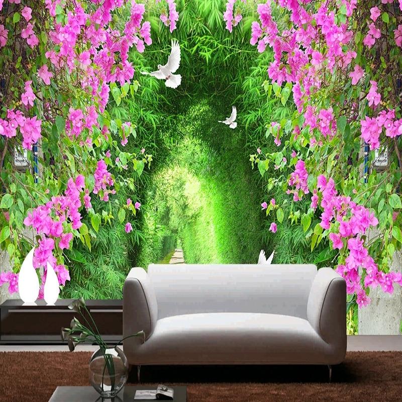 3D Photo papier peint fleur romantique Cherry Blossom Tree Petite Route mural