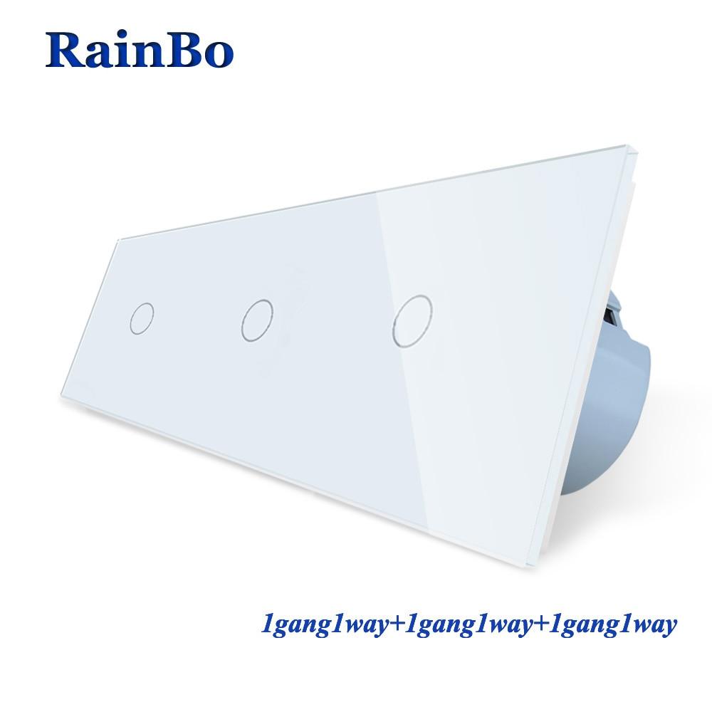RainBo marque 3 cadre en verre cristal panneau interrupteur interrupteur mural EU interrupteur tactile interrupteur mural 1gang1way 110 ~ 250 V A39111111CW/B