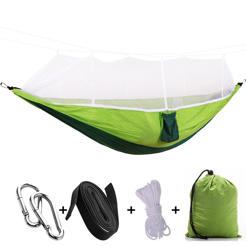 Single Person Mosquito Net Hammock Outdoor Camping Hamac With Sleeping Bed Garden Hamak Hanging Hunting Bed Hamak DC009 furniture size hanging sleeping bed parachute nylon fabric outdoor camping hammocks double person portable hammock swing bed
