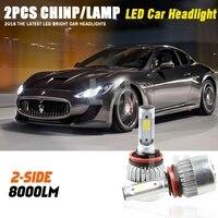 1PAIR H11 LED Bulb Fog Light 6500K Auto Headlight COB 72W Car Led Headlights Headlamp For