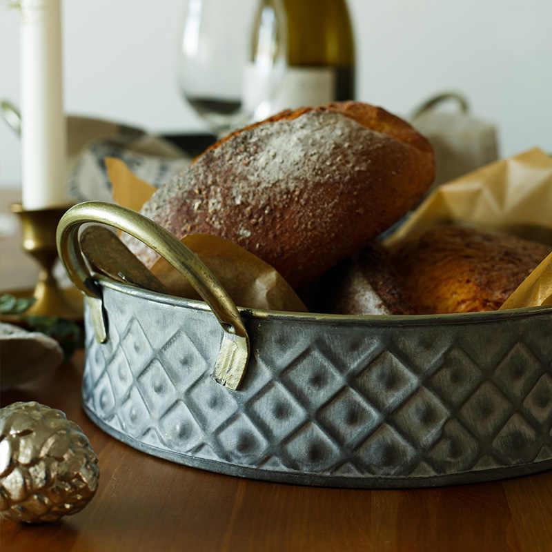 Cesta De Armazenamento com Alças de Metal Escandinavo Ferro Do Vintage Elegante Mesa De Comida De Armazenamento Organizador Decoração Cesta de Frutas para Casa