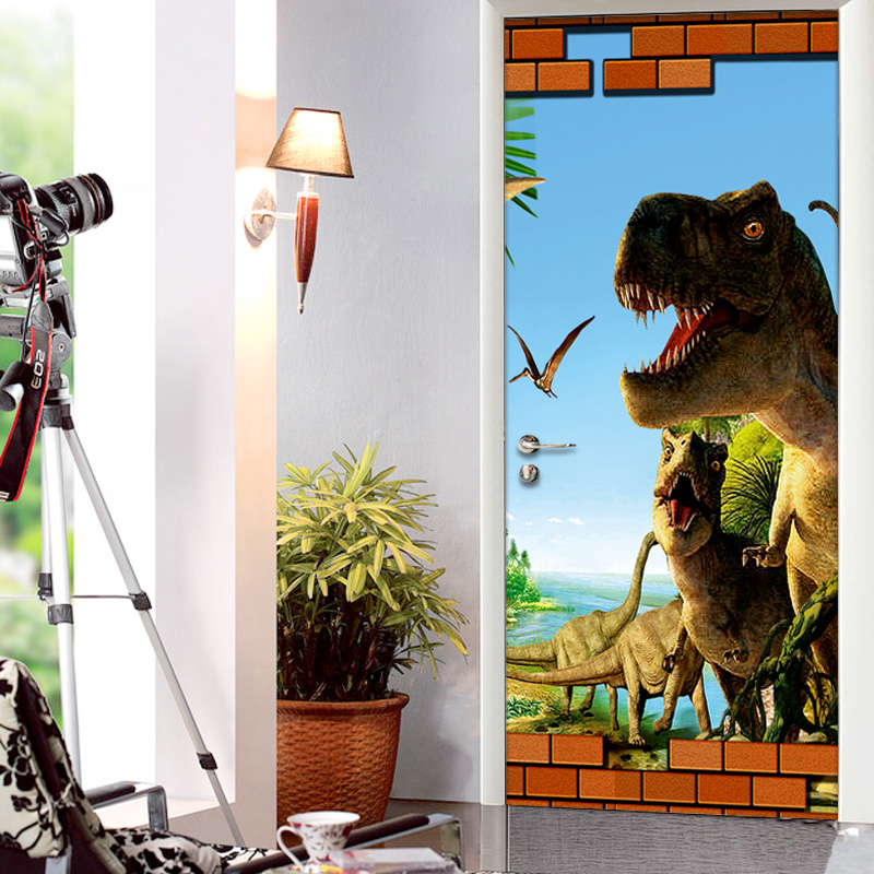 3D Cartoon Dinosaur Animal Wallpaper 3D Mural Wall Stickers Kids Bedroom Door Home Decor PVC Waterproof Vinyl Poster Door Mural-in Wallpapers from Home ... & 3D Cartoon Dinosaur Animal Wallpaper 3D Mural Wall Stickers Kids ...