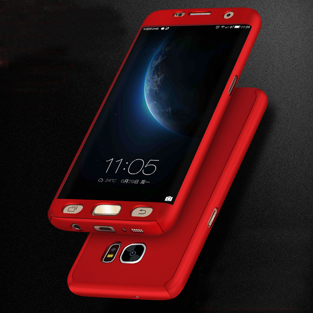 quality design d6a2a 68f56 360 Full Coverage Phone Case for Samsung Note 3 Note 4 J5 2015 J500 J7 2015  J700 Back Cover Capa + Free Tempered Glass