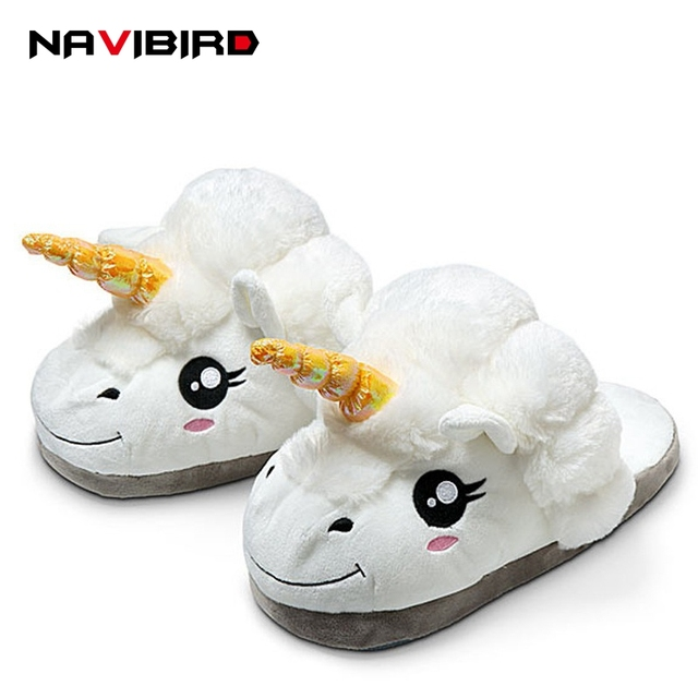 2e72cdb7e5c winter indoor animal women flat unicorn slippers furry fluffy cartoon adult  house home slippers ladies plush unicornio p112