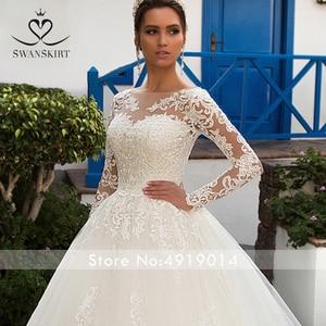 Image 4 - Jupe amovible à manches longues robe de mariée 2020 Scoop Appliques dentelle une ligne Vintage princesse mariée Vestido de Noiva K201