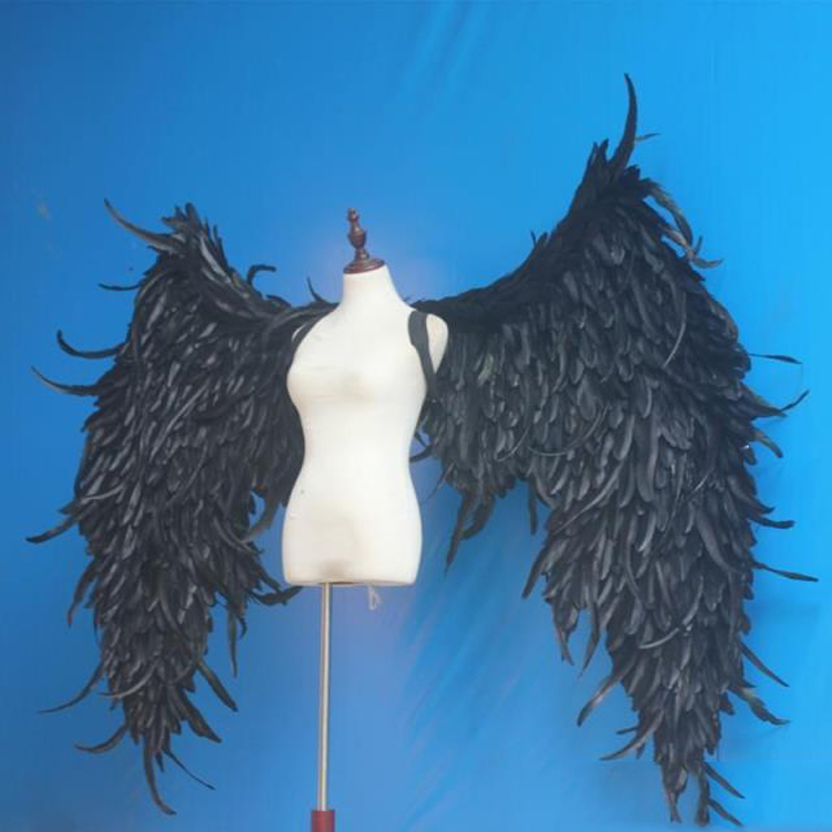 Preto grande ângulo asas adereços diy personalização para cosplay jogo de exibição de fotografia festa casamento asa traje adereços