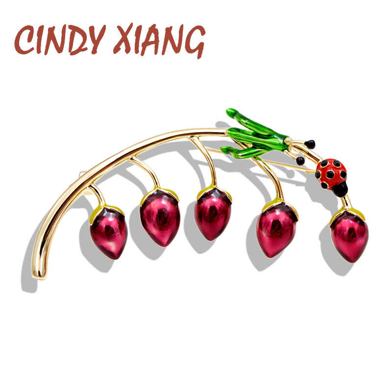 CINDY XIANG  Enamel Grasshopper Ladybug Berry Brooches For Women Copper Pin Cute High Quality Vivid Insect Brooch Kids Jewelry