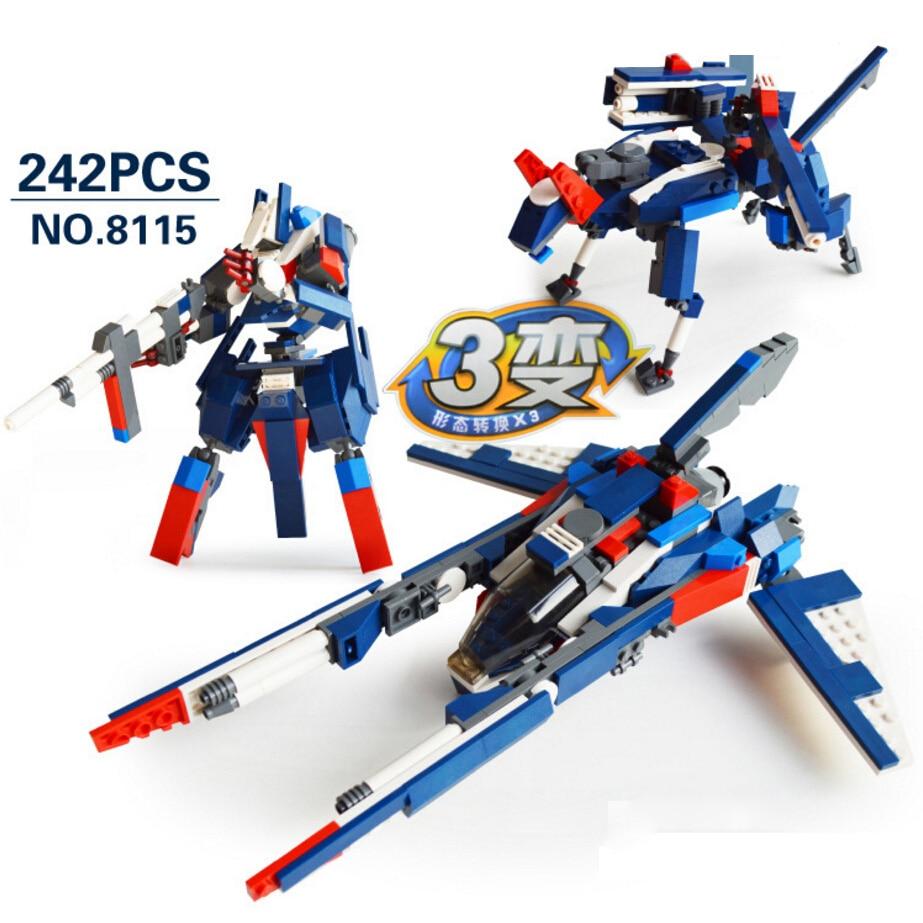 Hot star Macross spcae wars fighter 3in1 building block deformation super robot wolf bricks toys for children gift