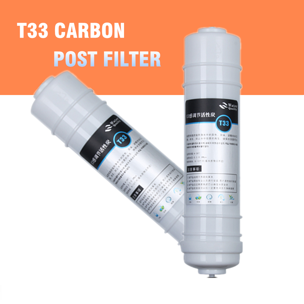 T33 Quick Connect 10 Inch Post Activated Carbon Filter Cartridge With 2 Quick Fittings 1/4 For Water Purifier Post-Filter empty inline water filter housing 12 x 2 5 refillable in line cartridge with 2pcs 1 4 quick connect fittings