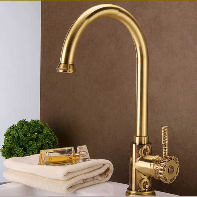 Luxury Solid Brass Kitchen Faucet Mixer Tap Swivel Spout Cold Hot ...