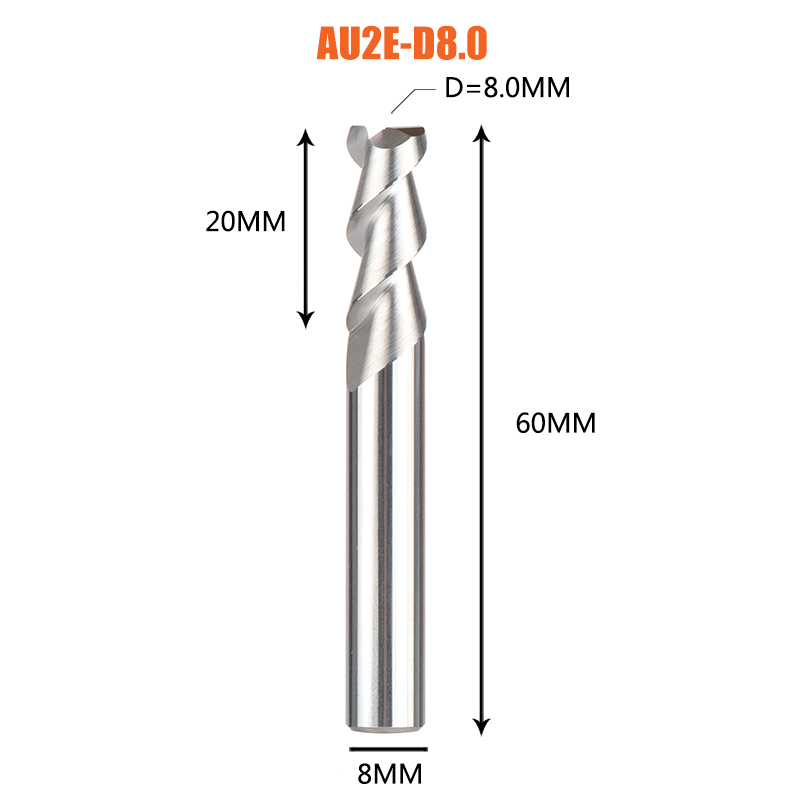 1 pc 3 флейты фрезы вольфрамового сплава концом ЧПУ фреза алюминий фреза для алюминия и деревообрабатывающие - Длина режущей кромки: 1PC-AU2E-D8.0