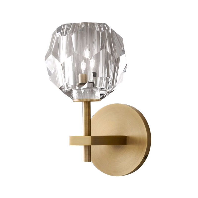 Industrial Wall Light Frosted Glass Wall Mount Decorative Retro Wall Lights for Living Room Wall Sconce Round Base Crystal Lamps