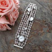 GE062112 8'' 7Strands White Pearl Rose Crystal CZ Bracelet