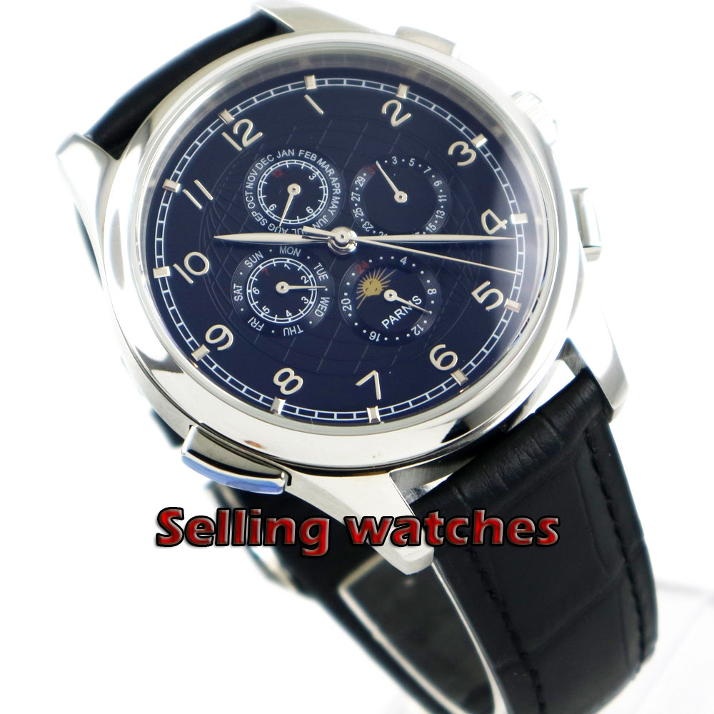 Parnis 44mm Black dial Moon Phase Multifunction Automatic movement mens watchParnis 44mm Black dial Moon Phase Multifunction Automatic movement mens watch