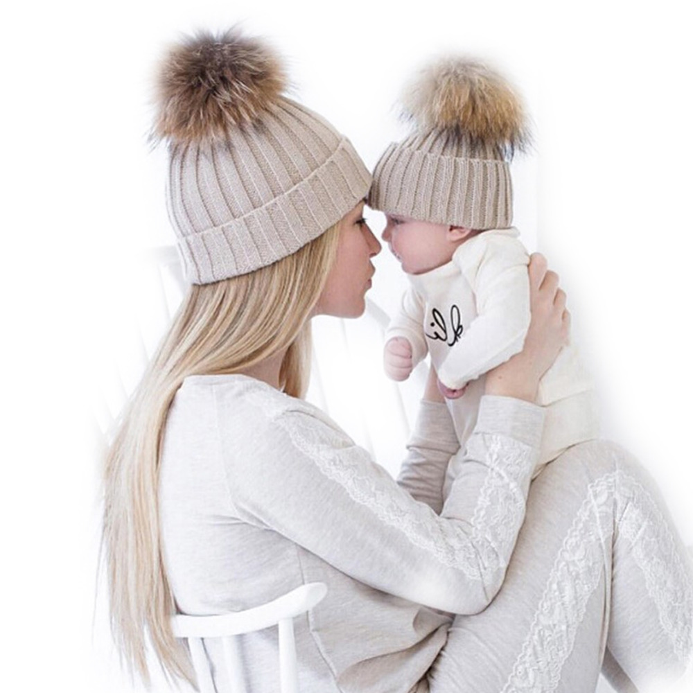 2Pc Mother Baby Cap For Newborns Photography Props Girls Boys Warm Winter Knitted Beanie Faux Fur Pompom Hat Kids Children Cap