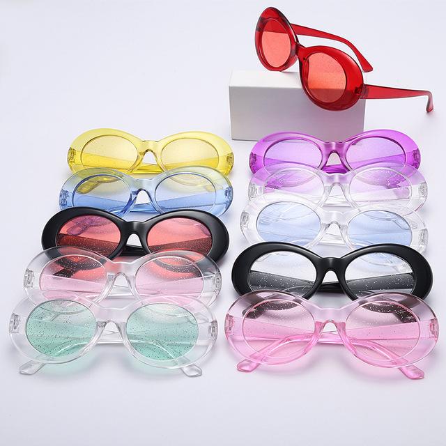 Vintage Retro Purple Oval Sunglasses Women 2018 Sunmmer Glitter Candy Color Transparent Frame Kurt Cobain Sun Glasses