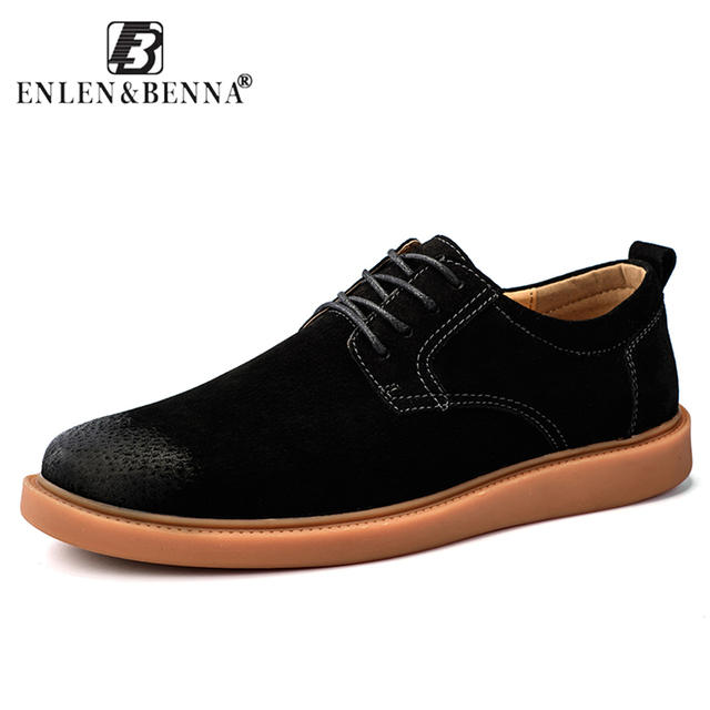 Causal Men Shoes Lace-Up Oxford Waterproof Cow Suede Leather Fashion  Quality-High Cut