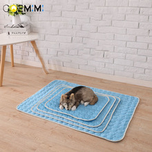 Pet Pad Summer Cooling Mat Dog Beds Mats Blue Ice Cool Cold Silk Moisture-Proof Cooler Mattress Cushion Puppy Sleeping