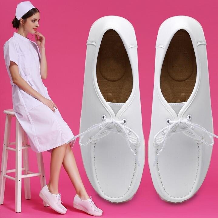 Mignon confortable femmes infirmière pompes Wedge chaussures à lacets blanc décontracté bureau travail chaussures grande taille 42