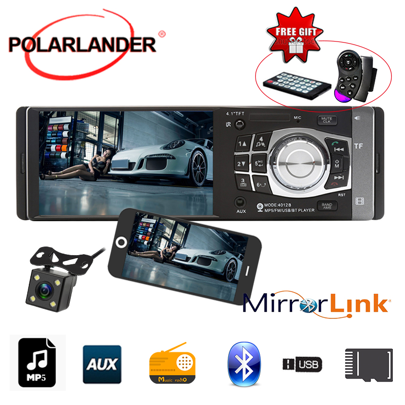 4.1 inch 1 Din Bluetooth TFT MP4 Player USB/SD/TF Aux FM Radio Mirror Link Stereo Car Audio Stereo autoradio car radio support C image