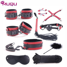 Black rivets PU leather bdsm bondage set slave mouth gag nipple clamps women sex toys restraints for couples