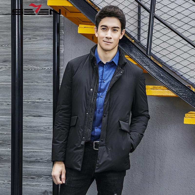 Ente Mantel Jacke Mit Seven7 Warme Design Black Grundlegende Taschen Outwear 2019 Weiße Winter Schwarz Bomber Marke Männlichen Männer gzg8qt